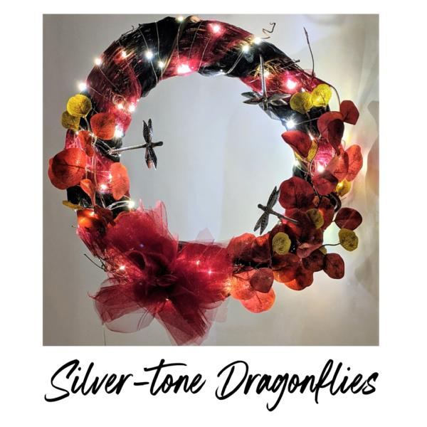 Silver Dragonfly Wreath